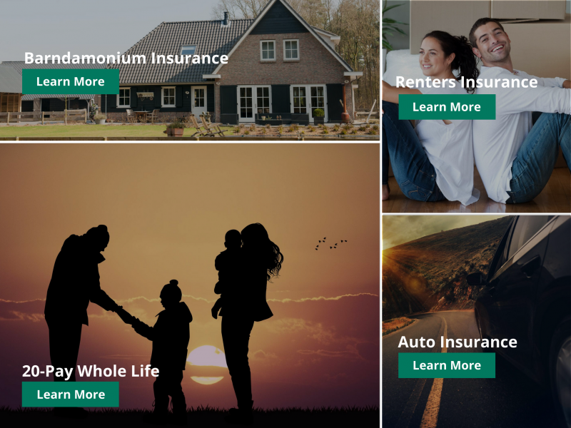a collage of different insurance offerings